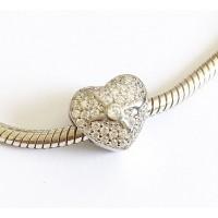 Berloque lindo Coração Cravejado Branco Prata 925