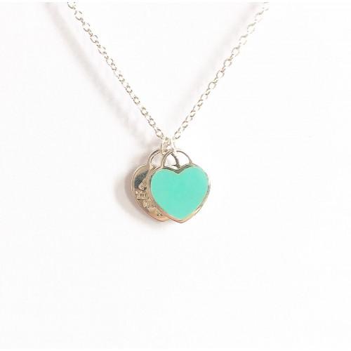 Gargantilha em Prata 925 Coração duplo /Verde