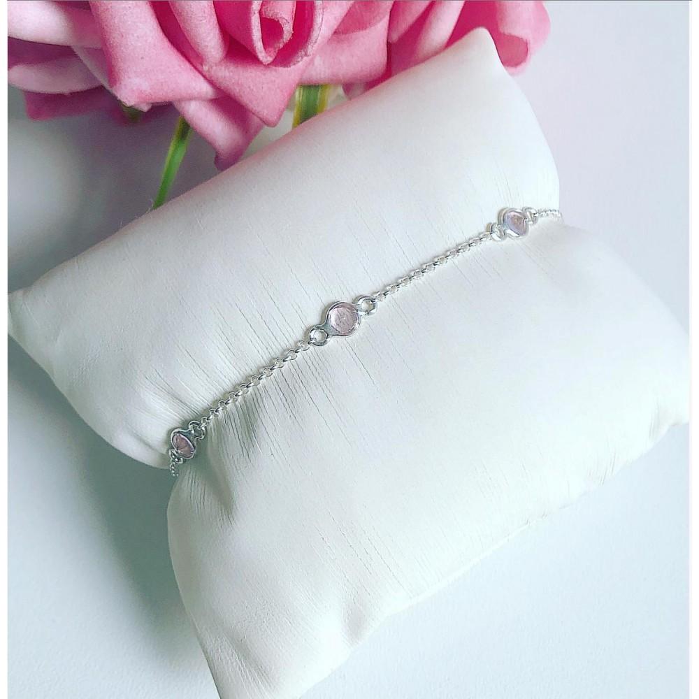 Pulseira Prata 925 Zirconias Rosa