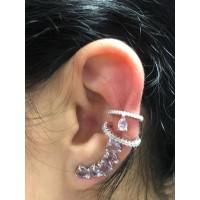 Brincos Ear Cuff + Piercing Zirconias Rosa e Rodio Branco