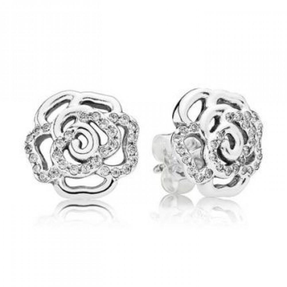 Brincos   Rosas Em Prata 925 e Zirconais Brancas