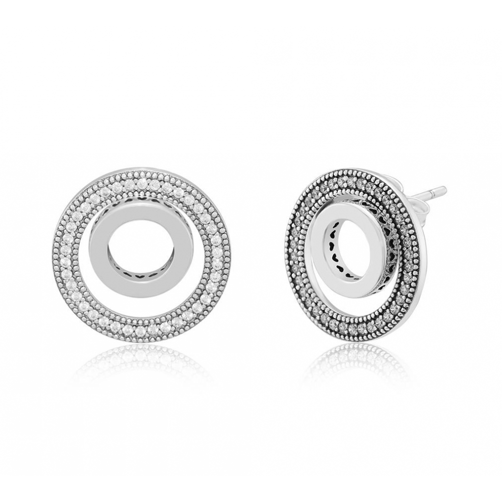 Brincos Mandala do Amor Círculos Prata 925 e zirconias