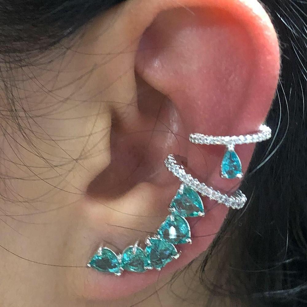 Brincos Ear Cuff + Piercing Rodio Branco e Zirconais Verdes