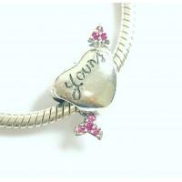 Berloque Coração com Flecha em Prata e Zirconias