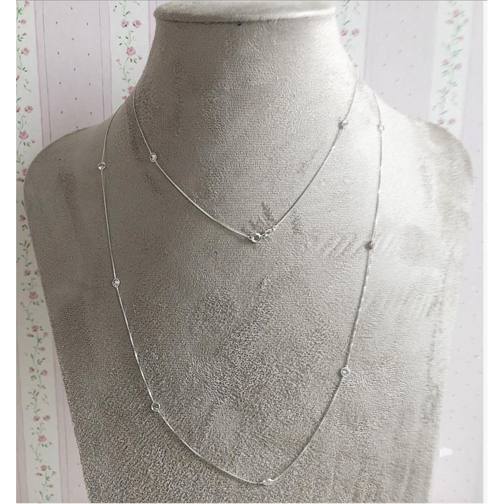 Gargantilha Prata 925 e Zirconias Brancas  Tf