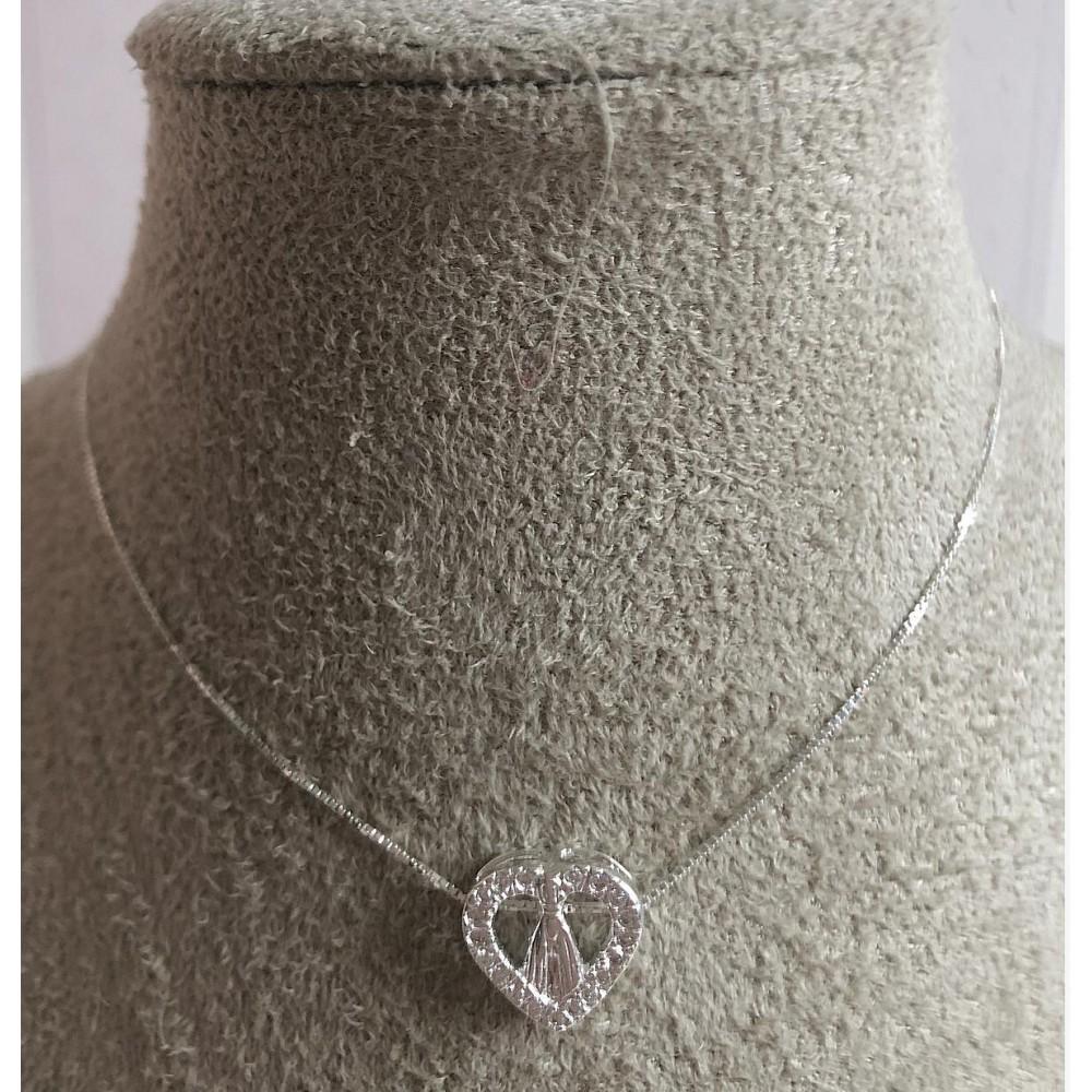 G-35 Gargantilha Ns.Sn. Aparecida /Coração Prata 925 zirconias