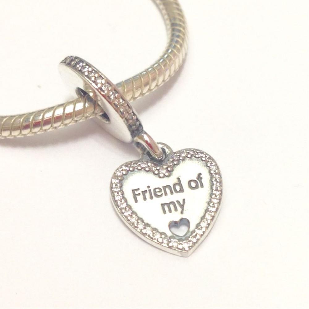 PG-140 Pingente Friends Of My Heart em Prata 925 e