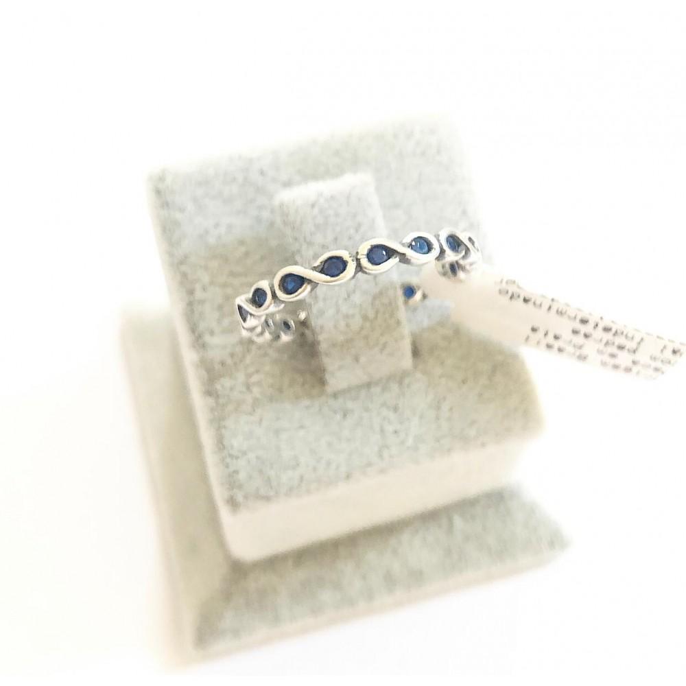 Anel  Infinito em Prata 925 Zirconias Azul