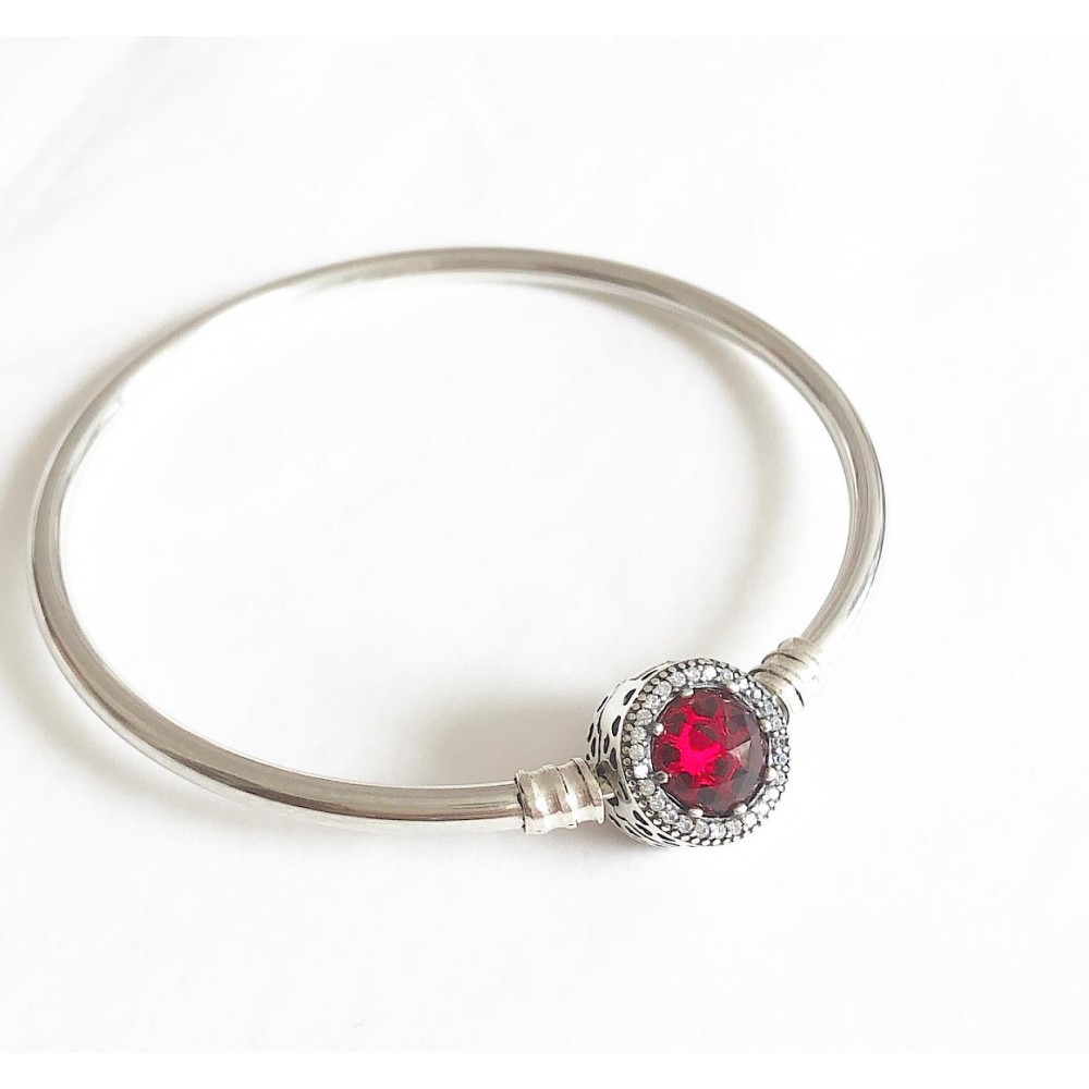 Bracelet Linda Flor Luxuosa Prata 925  Zirconia Vermelha