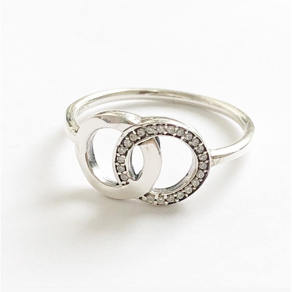 Anel Duplo Mandala do Amor em Prata e Zirconias