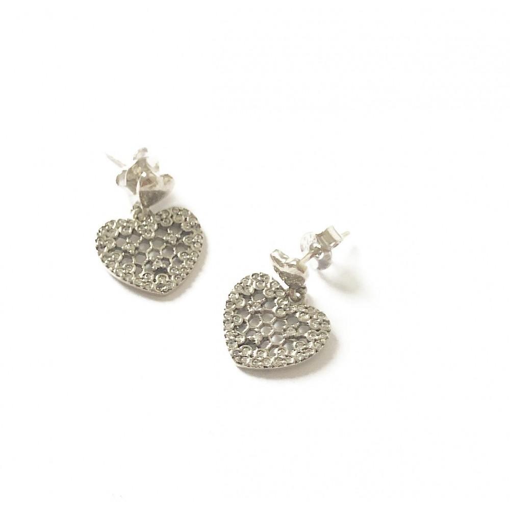 Br-23 Brincos Coração Florido Prata e Zirconias Brancas