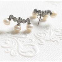 Brincos Ear Cuff com Zirconias em Prata