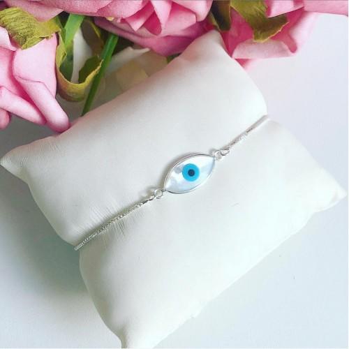 Pulseira Olho Grego Madre Pérola Prata 925