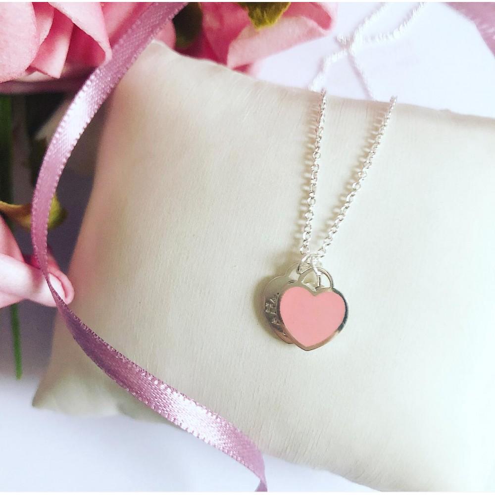 G-14 Gargantilha em Prata 925 Coração duplo / Rosa
