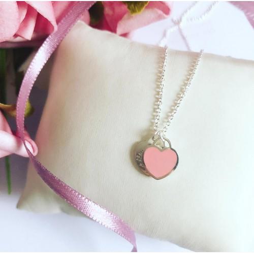 Gargantilha em Prata 925 Coração duplo / Rosa