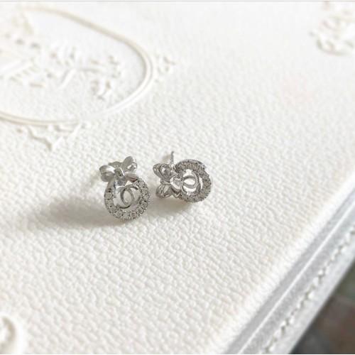 Br-14 Brincos Chanel em Prata e Zirconias