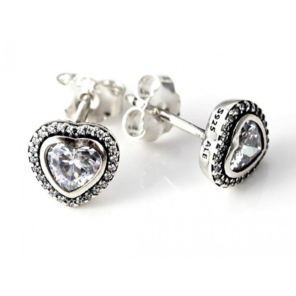 Brincos Coração Luxuoso em Prata e Zirconias