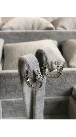 Br-29 Brincos Corações em Prata 925e Zirconias Brancas