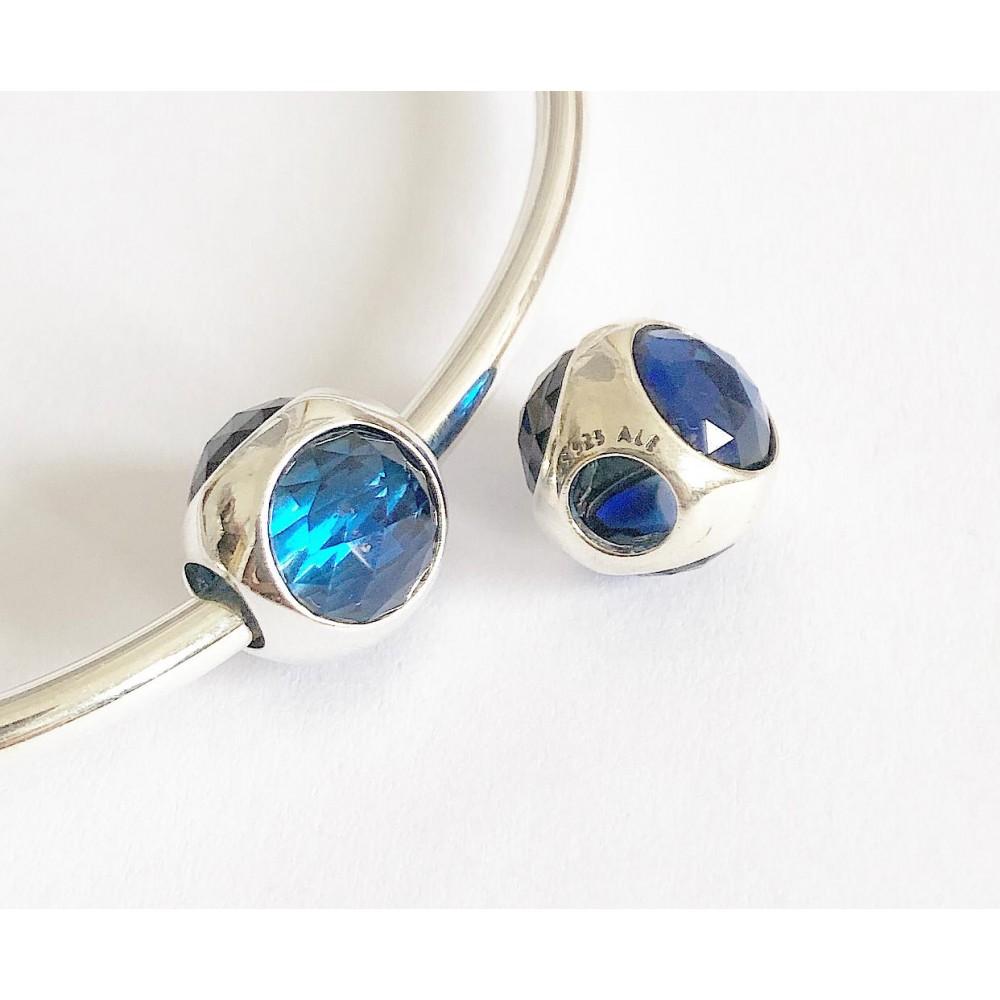 Berloque Separador Florral azul em Prata 925