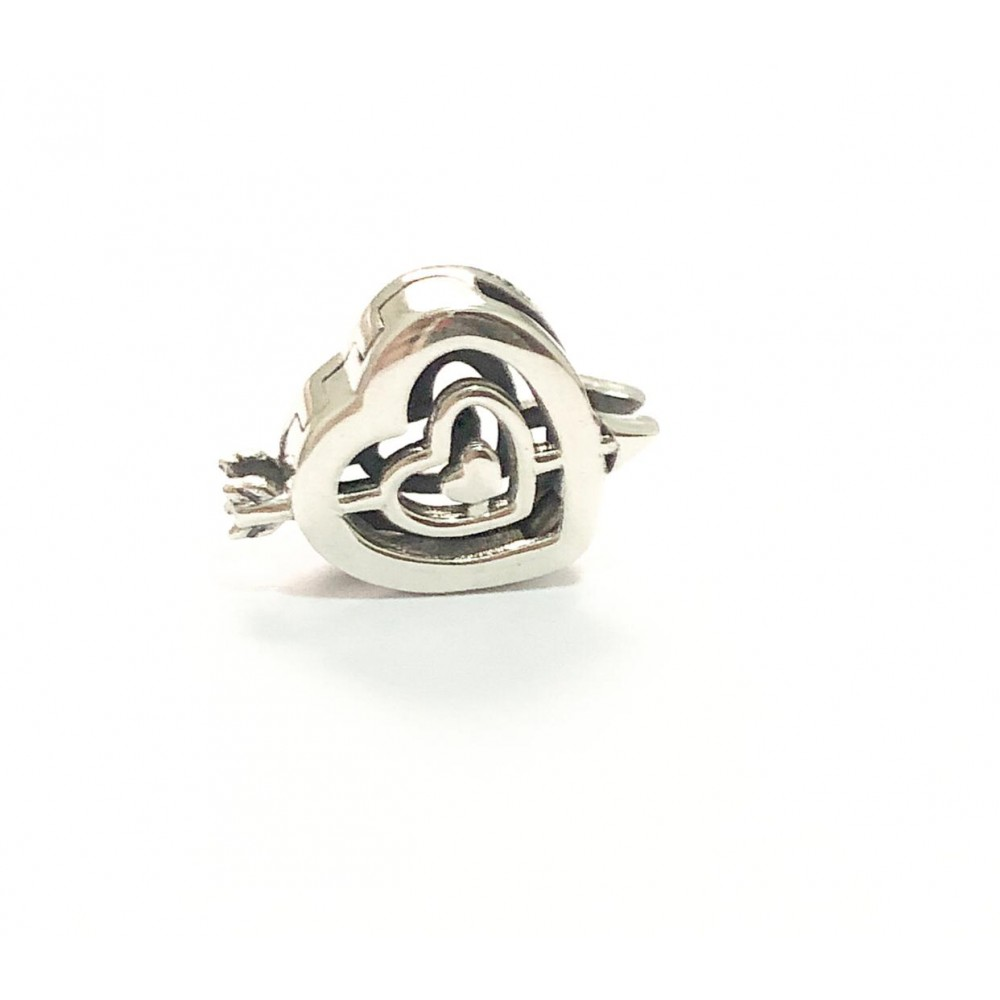 Coração Cupido Reflexo  Prata 925
