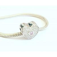 BE-107 Berloque Coração Romantico Prata e Zirconias Brancas e Rosa