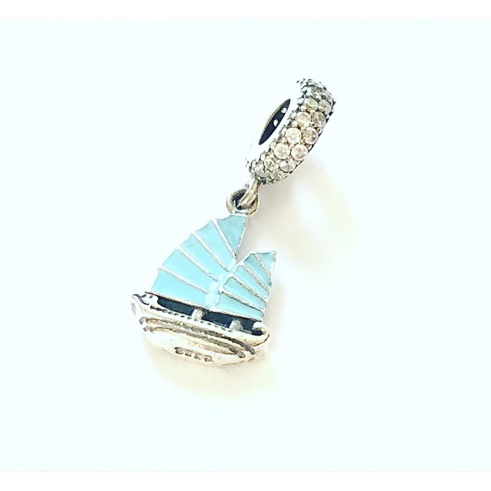 PG-355 Pingente Veleiro Azul em Love Prata 925