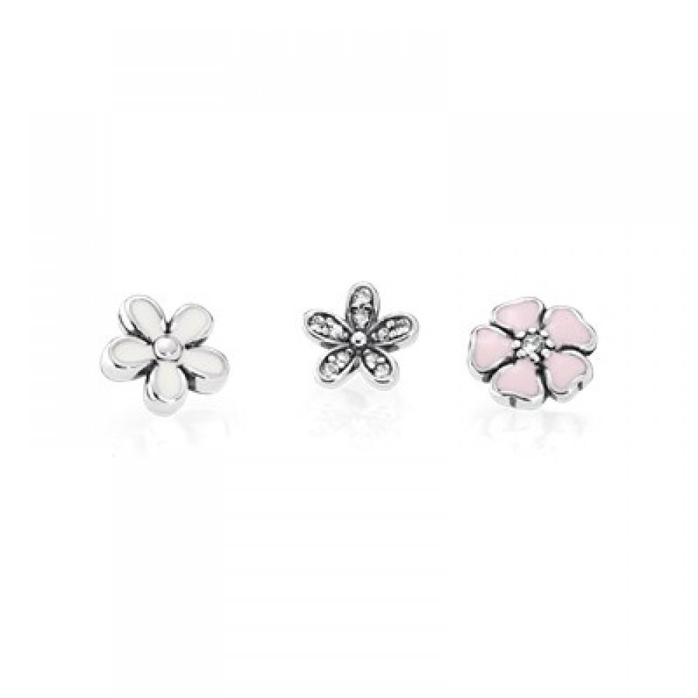 Trio Mini Charms Flores ( para Cápsula ) Prata 925