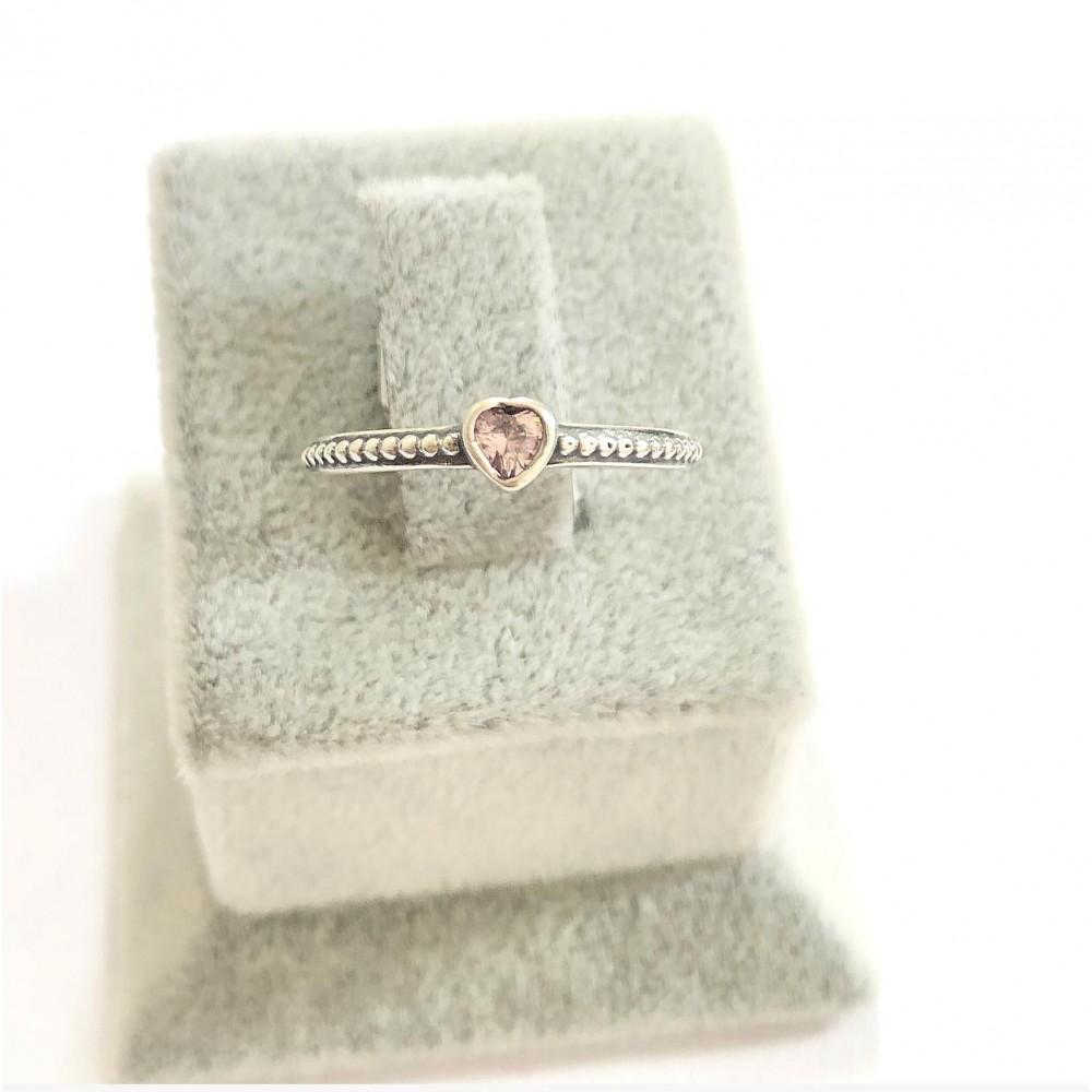 Anel Coração ùnico em Prata Pedra Rosa Zirconias