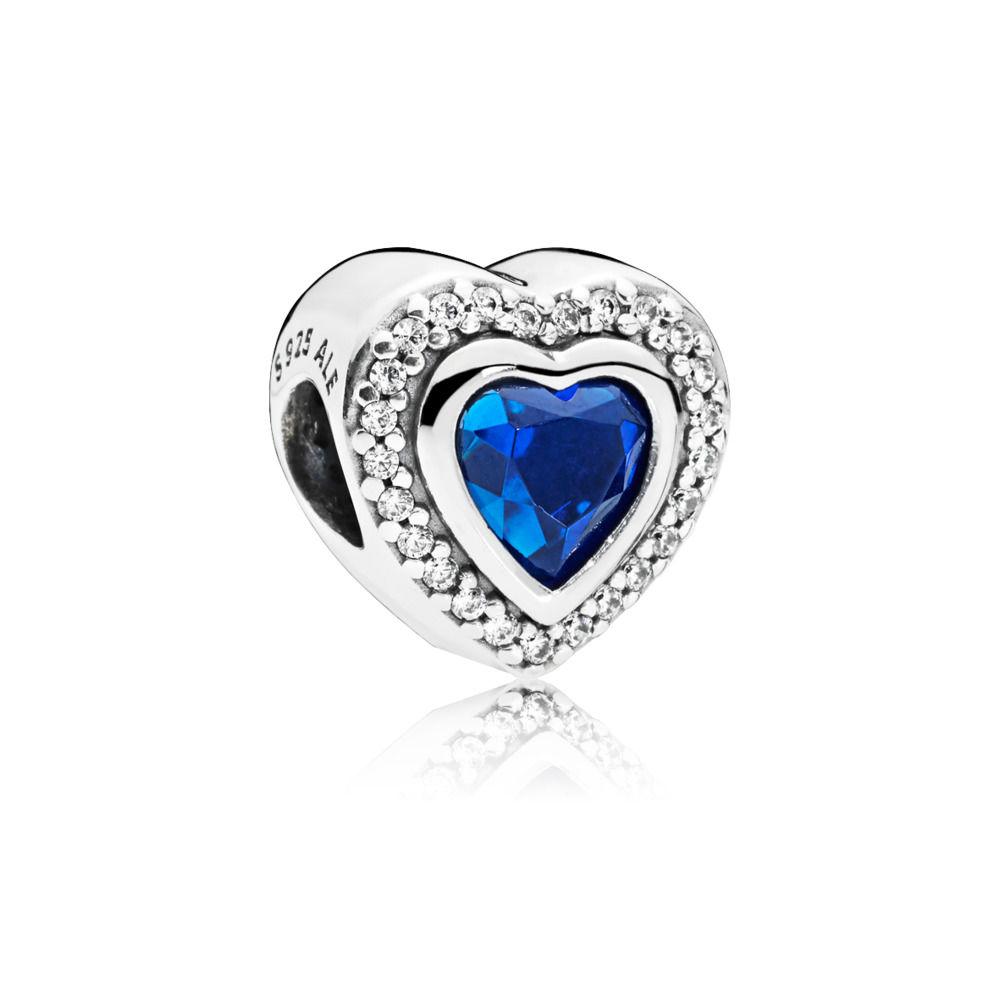 Berloque Coração Blue Prata e Zirconias