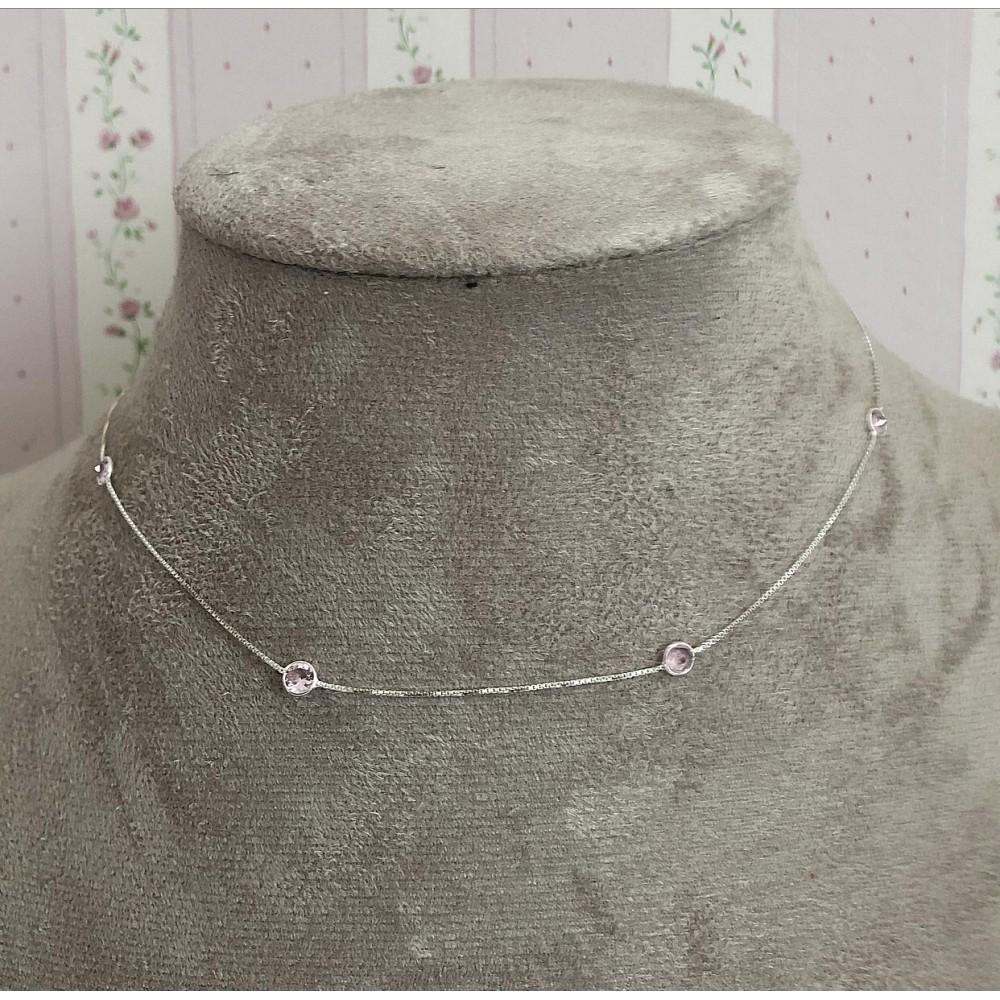 Gargantilha em Prata 925 Tf com zirconias Rosa