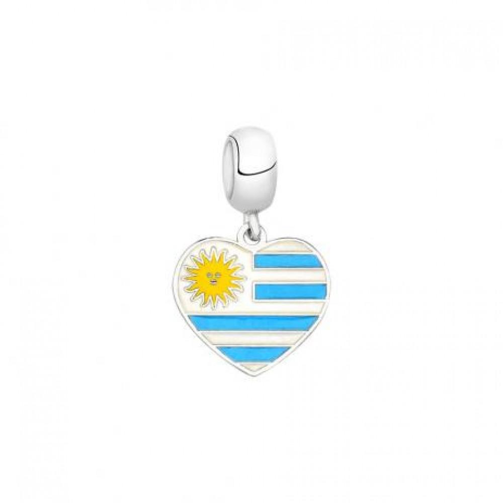 PG-168 Pingente I Love Uruguai em Prata 925