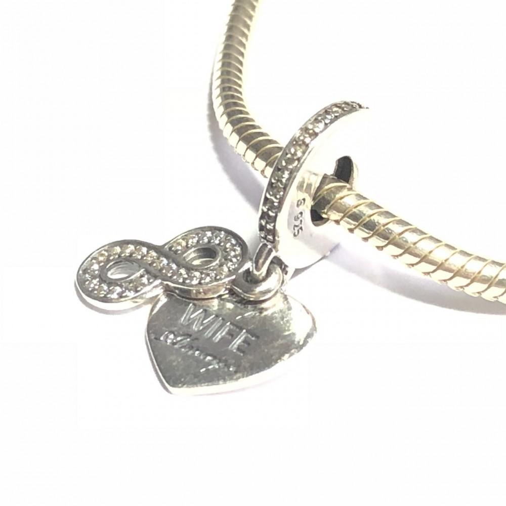 PG-185 Pingente Infinito Amor em prata e Zirconias