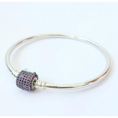 Bracelete Rígido Prata 925 Fecho Cravejado Ziconias Vermelhas