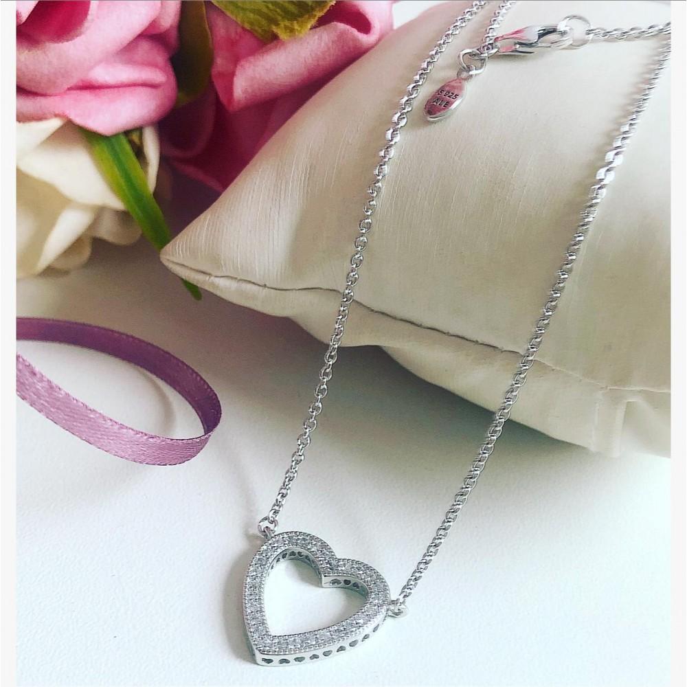 Gargantilha Mandala do Amor Love Prata e Zirconias Brancas