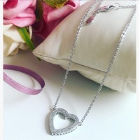 G-32 Gargantilha Mandala do Amor Love Prata e Zirconias Brancas