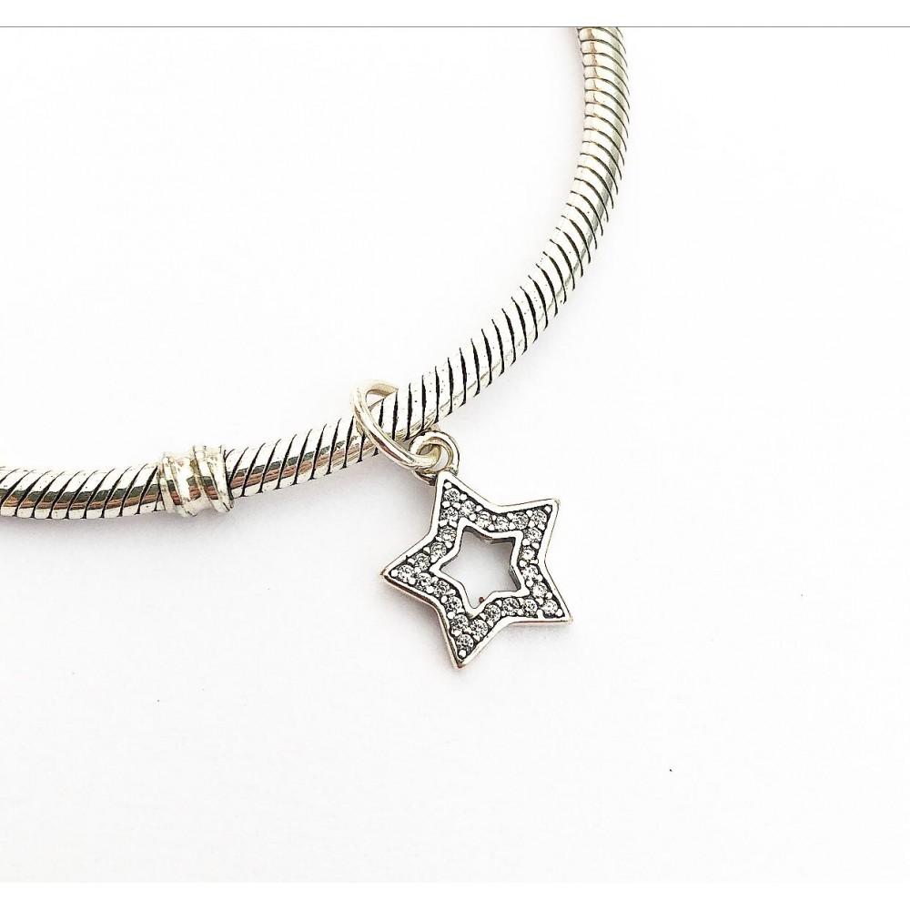 Pingente Estrela Prata Cravejado