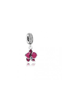 Pingente Orquídea Rosa e Prata 925 Esmalte e Zircônias Brancas