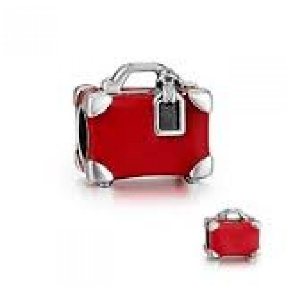 BE-368 Berloque Luxuosa Mala Vintage em Prata 925 e Esmalte Vermelho