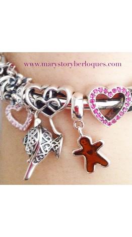 Berloque Três Corações em Prata 925