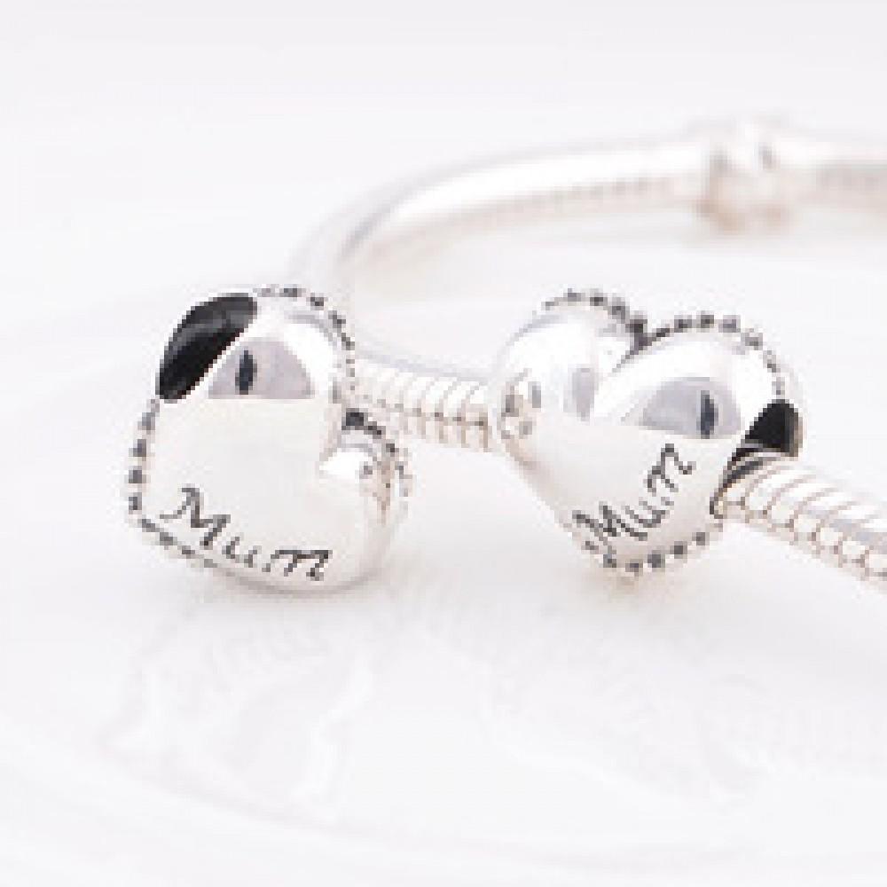 Berloque Coração Mãe em Prata