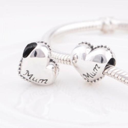 BE-104 Berloque Coração Mãe em Prata