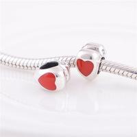 BE-19 Berloque / Separador Coração Prata E Esmalte Vermelho