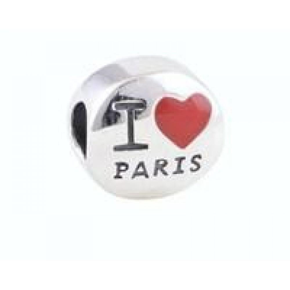 BE-365 Berloque I Love Paris em Prata