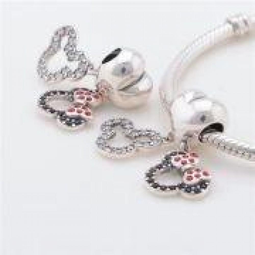 Ratinhos In Love Em Prata 925 Com Zirconias Pretas  Vermelhas e Brancas