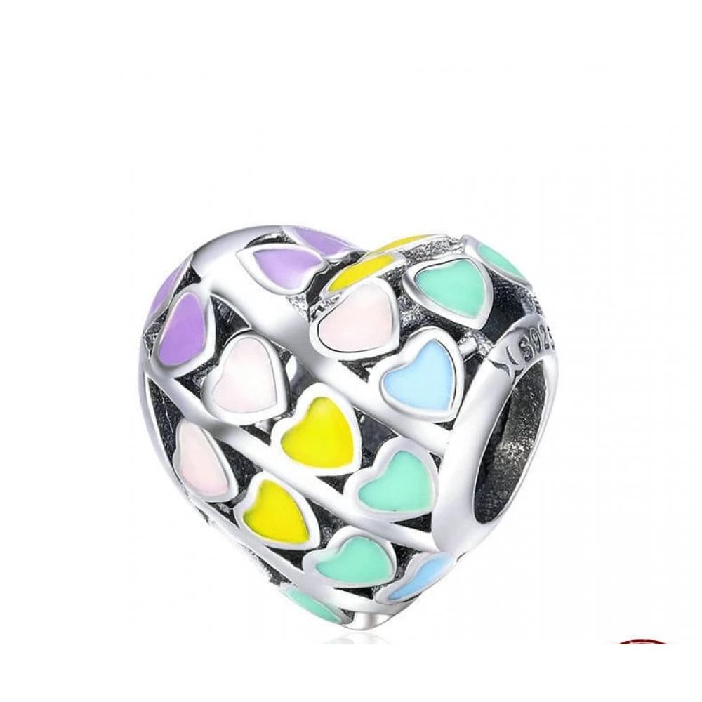 Berloque Coração Arco - Íres Prata e  Esmalte