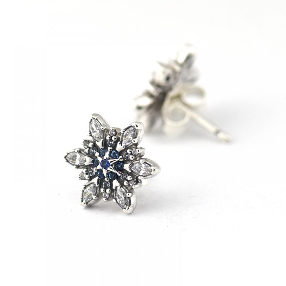 Brincos Luxuoso Floco de Neve  prata 925 e Zirconias azuis e Brancas
