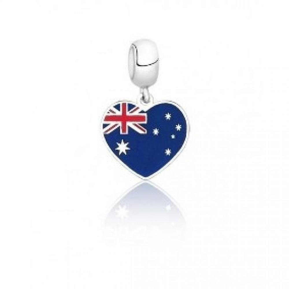 PG-154 Pingente I Love Austrália em Prata e Esmalte