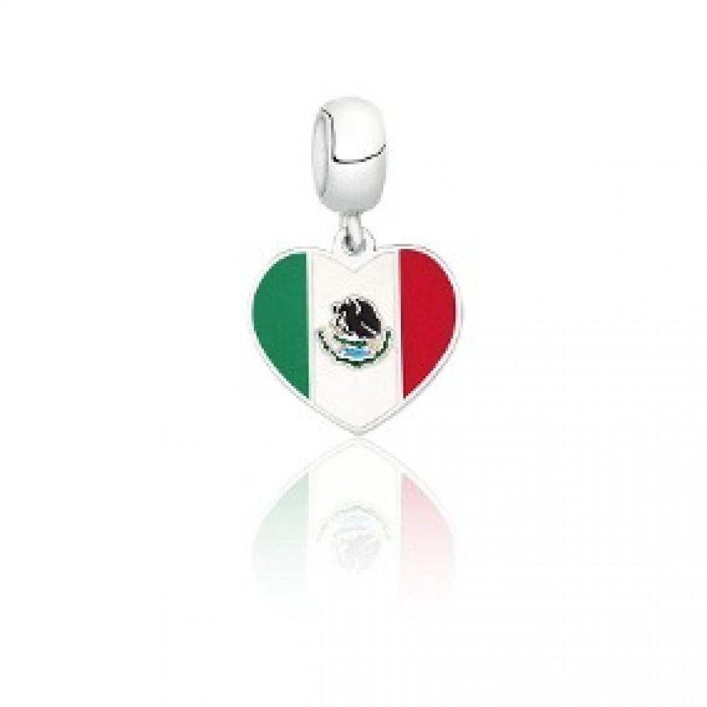 PG-162 Pingente I Love México em Prata e Esmalte