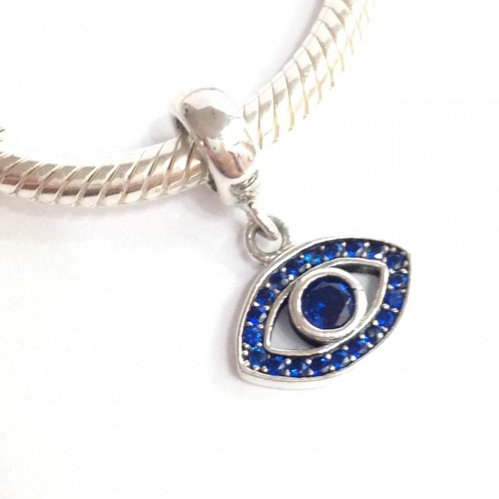 Pingente Olho Turco/Grego Prata e Zirconias azuis