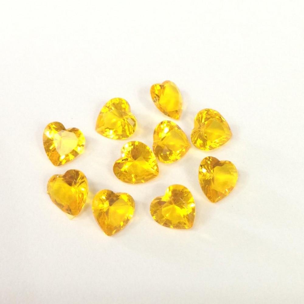 Mini charm Coração  Crystal Amarelo Escuro